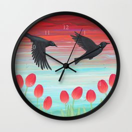 crows, tulips, & snails Wall Clock