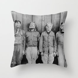 American, British, French, & German Gas Masks Throw Pillow