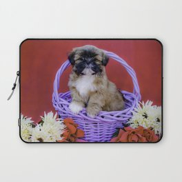 Brown and White Shih Tzu Puppy Standing in a Purple Basket with Flowers in Front of a Red Background Laptop Sleeve