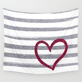 Red Heart on Shiny Silver Stripes Wall Tapestry