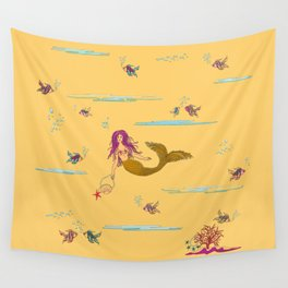 Fashionable mermaid - yellow-orange Wall Tapestry