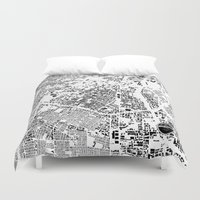 los angeles Duvet Covers featuring LOS ANGELES by Maps Factory