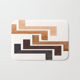 Raw Umber Pattern Mid-century Modern Simple Geometric Pattern Watercolor Minimalist Art Squares Bath Mat