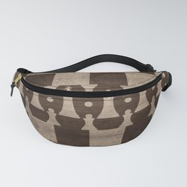 Chess Pieces Pattern - wooden texture Fanny Pack