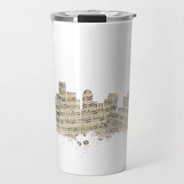 Boston Massachusetts Skyline Sheet Music Cityscape Travel Mug