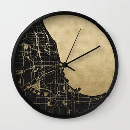 Chicago Black and Gold Street Map Wall Clock