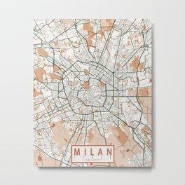 Milan City Map of Lombardy, Italy - Bohemian Metal Print