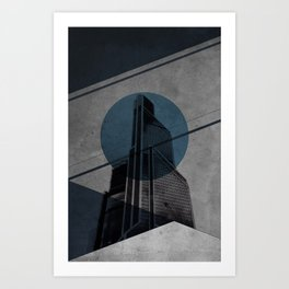 Blue Abstract Building Art Print