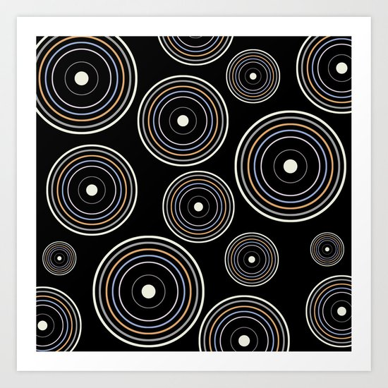 CONCENTRIC CIRCLES IN BLACK (abstract pattern) Art Print