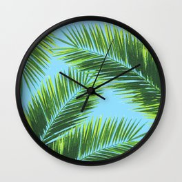 Tropical Palm Leaf Pattern 2 - Tropical Wall Art - Summer Vibes - Modern, Minimal - Green, Blue Wall Clock
