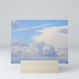Blue Lakescape With White Clouds In The Blue Sky #decor #society6 Mini Art Print