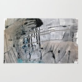 Riptide: an abstract mixed media piece in black, white, brown and blue Rug