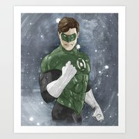 green lantern Art Prints featuring Green Lantern by Alex Heuchert