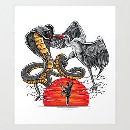 Retro Cobra Crane Cool Karate Shirt Strike Hard Gift Idea Art Print