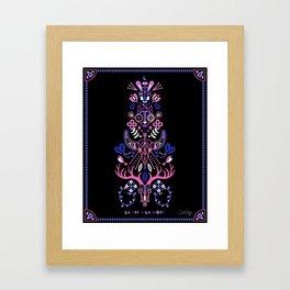 La Vie & La Mort – Pink & Periwinkle on Black Framed Art Print