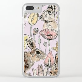 rabbits and flowers with color Clear iPhone Case