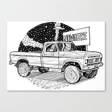 Car going nowhere/ B/W Canvas Print