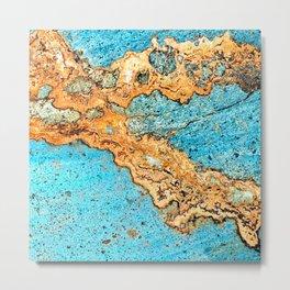 Aqua & Gold Metal Print