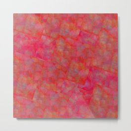 Bright Pink Cubism Abstract Metal Print