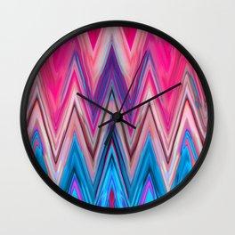 Bright Pink Teal Ikat Chevron Aztec Pattern Wall Clock