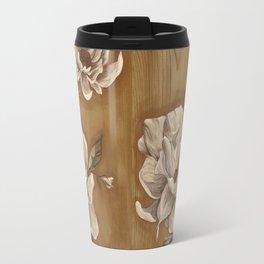 Magnolia on Wood Travel Mug