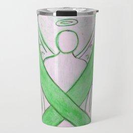 Lime Green Awareness Ribbon Angel Art Travel Mug