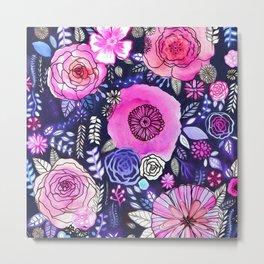 Ultraviolet Floral Mix Metal Print
