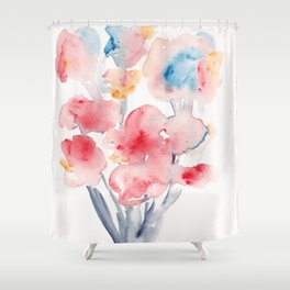 22  | Loose Watercolor Flower | 191015 Shower Curtain