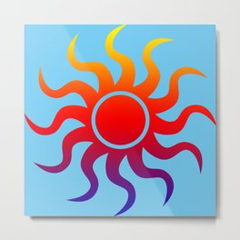 Rainbow Sun Metal Print