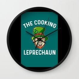 St Patricks Day Hipster Chef Magical Leprechaun Wall Clock