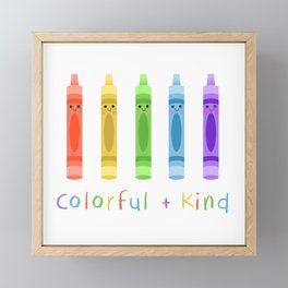 Colorful and Kind Crayons Framed Mini Art Print