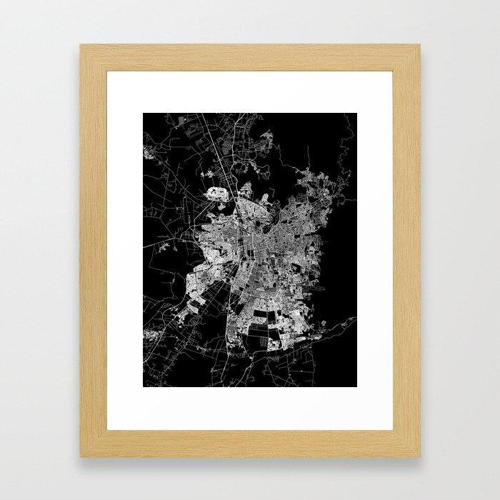 Santiago map Chile Framed Art Print