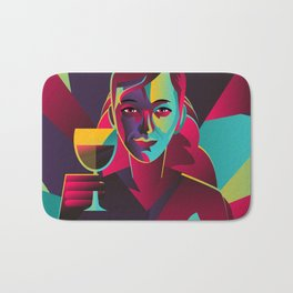 colorful cubist girl drinking wine Bath Mat
