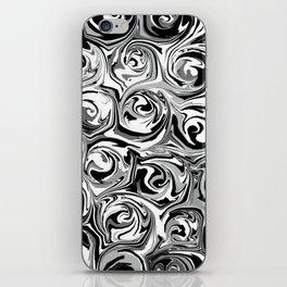 Onyx Black and White Paint Swirls iPhone Skin