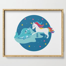 Narwhal Unicorn Beluga Sea Life Friendship Gift Serving Tray