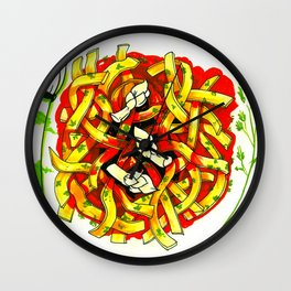 Linguine with asparagus Wall Clock