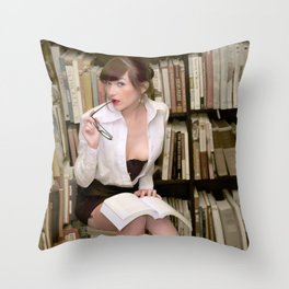 """I Like Books, Too"" - The Playful Pinup - Sexy Librarian Pin-up Girl by Maxwell H. Johnson Throw Pillow"