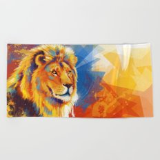 Majesty - Lion portrait Beach Towel