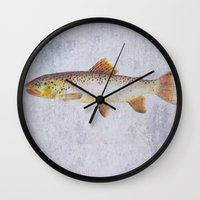 trout Wall Clocks featuring Brown Trout by Krazy Squirrel