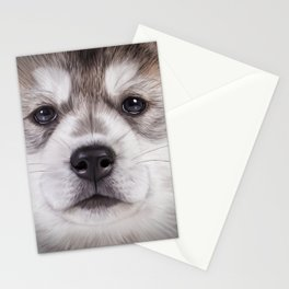 Drawing puppy Alaskan Malamute Stationery Cards