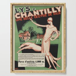 classic poster lys - chantilly. circa 1928 Serving Tray