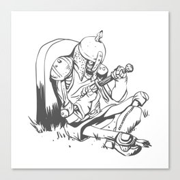 Illustration of a knight  wounded during a medieval battle Canvas Print