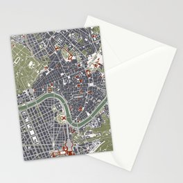 Rome city map engraving Stationery Cards
