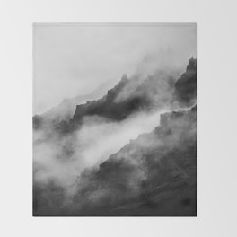 Foggy Mountains Black and White Throw Blanket