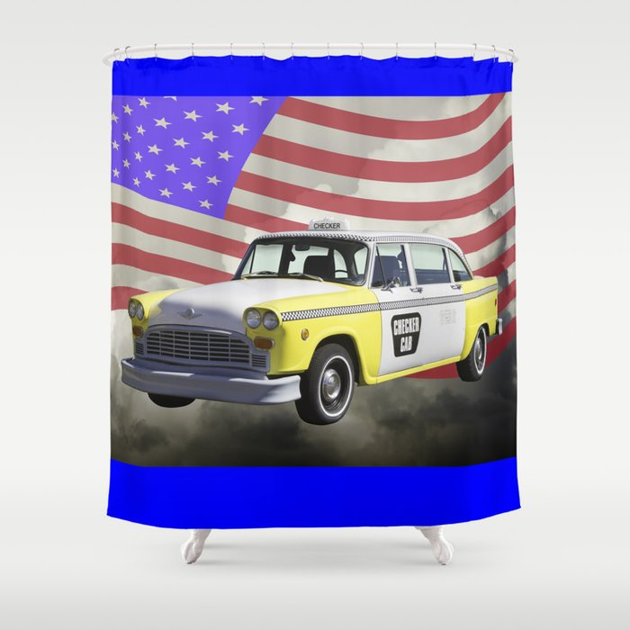 Yellow And White Checkered Taxi Cab US Flag Shower Curtain