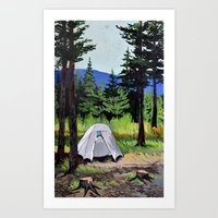 camp Art Prints featuring Camp by Kira Yustak