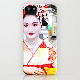 Geisha Maiko in yellow kimono iPhone Case