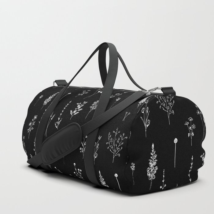 Black wildflowers Duffle Bag