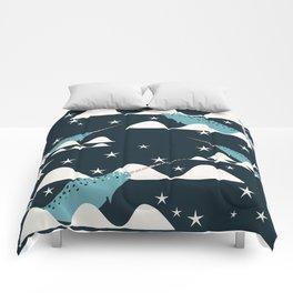 narwhal in ocean blue Comforters