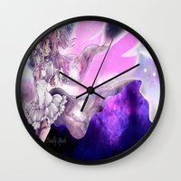 madoka magica Wall Clocks featuring Goddess Madoka by DeadlySpade